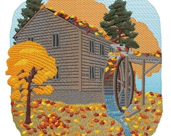 Mill in Autumn Embroidered on Hand Towel or Tea Towel