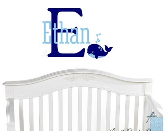 Whale Wall Decal • Childs Name and Initial Monogram Wall Decal • Customize Bedroom Nursery with Aquatic Theme Wall Decal