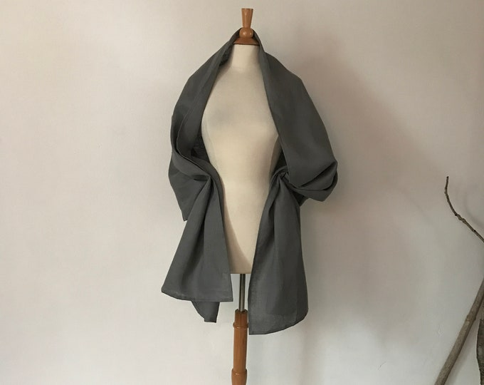 gray linen wrap shawl ready to wear / long linen shawl / long linen scarf / gray linen /ready to ship / gray linen wrap