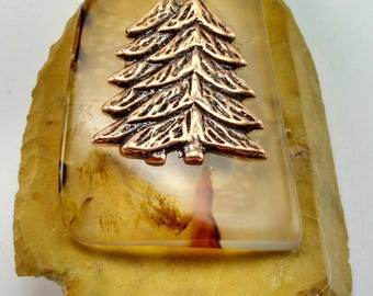 Vintage Fossil Brooch with Agate and Copper Trees -108A