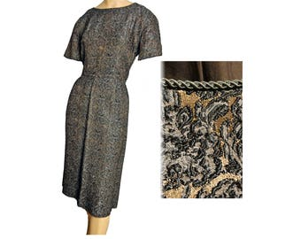 Vintage 1950s Party Dress Sheath Bombshell Pin Up Wiggle Dress Short Sleeve Brown Brocade
