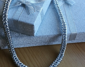 Silver Anodised Aluminium Box Weave Chunky Chain Maile Necklace - CMN18