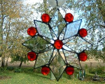 Small Red  Iridescent Bevel Snowflake Suncatcher