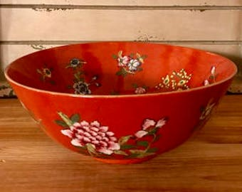 Vintage 1960-1970's ACF Decorated in Hong Kong Decorative Asian Art Red Floral Bowl Gold Rim