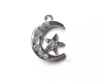 1-5 Rhinestone Moon and Star Charm or Pendant. Beautiful Pendant.