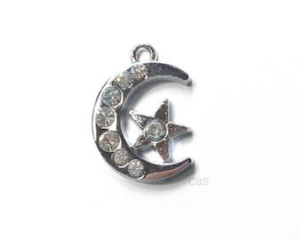 1-5 Rhinestone Moon and Star Charm or Pendant. Beautiful Pendant.