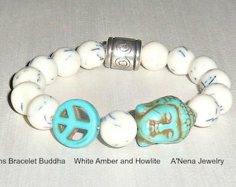 "Bracelet For Men : Amber & Howlite ""Successful, Peaceful"" By ANena Jewelry"