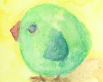Original ACEO Watercolor Painting: Little Green Bird