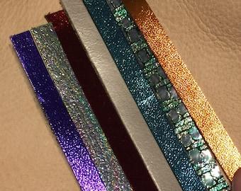 "Skinny glitter/metallic leather simple 1/8""x2"" earrings"