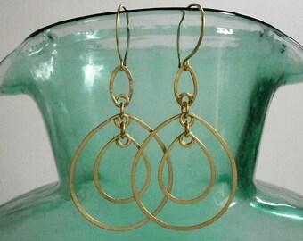 Long Gold Double Teardrop Earrings Oval Hoop Dangles Lightweight 14k Gold Fill Earrings Artisan Hammered Wire Jewelry