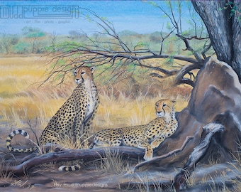 A3 ARTWORK Cheetahs ART PRINT African Wildlife Conservation illustration desert ant hill  blue yellow green nature trees cats chalk pastel