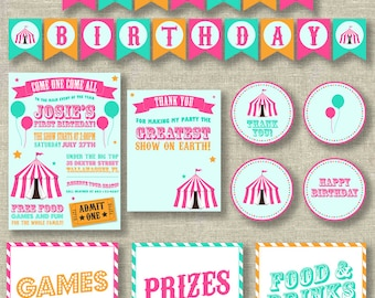 Circus party package, carnival party package, girl circus invitation, circus birthday invitation, carnival birthday invitation,