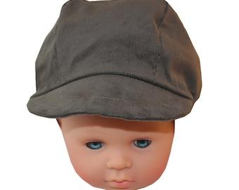Cap newsboy child khaki fine corduroy fabric