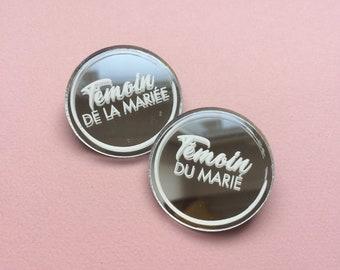Badges aimantés miroir ronds (témoins/famille/prénoms)
