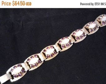 ON SALE Purple Rhinestone Bracelet, High End Rare Vintage Jewelry, 1950's 1960's Old Hollywood Glamour