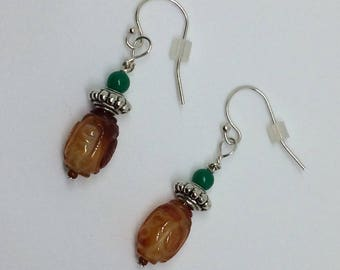 Earrings with Carved Carnelian, Pewter & Green Japanese Glass Beads