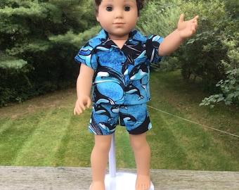 18 inch boy doll shorts set