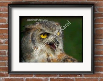 Owl Wall Art - Owl Poster, perfect gift for a friend or for home or office