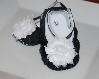 Black Rosette Crib Shoes with Shabby Chic Flower-Comes in Sizes 6-9 & 9-12 months