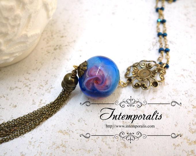 Long beaded Chain tassel Murano Glass Necklace, Handmade lampwork Murano bead glass, OOAK, SASA05