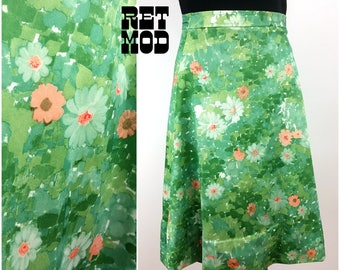 Vintage 70s Green, White and Peach Abstract Floral A-Line Wrap Midi Skirt