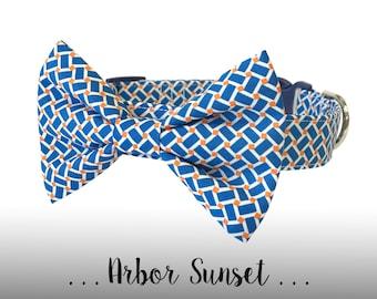 Blue and Orange Plaid Bow Tie Dog Collar; Dog Collar and Bow Tie Set: Arbor Sunset