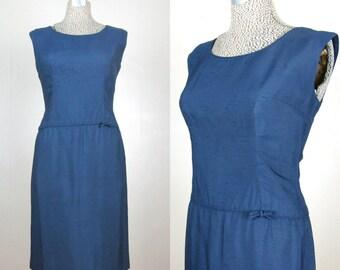CLEARANCE // Vintage 1950's Navy Rayon Sheath Dress 50s Blue Dress with Drop Waist Size 8/M