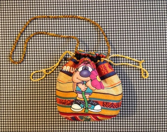 1980's, drawstring, mini-purse, in colorful weave, with cartoon character