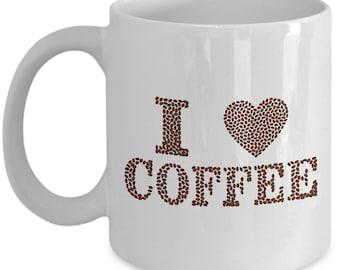 "Fun ""I Love Coffee"" mug!  Coffee bean design | 11 ounce capacity cup"