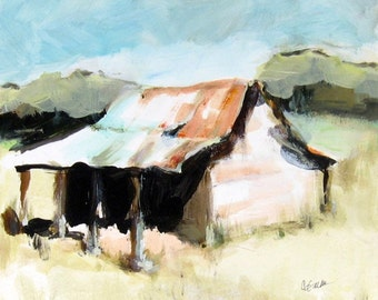Country Wall Art Landscape Print 8 x 10 with Free Shipping from Original Acrylic Barn Painting