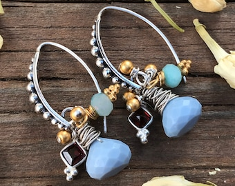 Sterling Silver Earrings cluster gemstone blue mixed metals gold