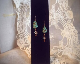 Earrings, Turquoise and Swarovski Crystal