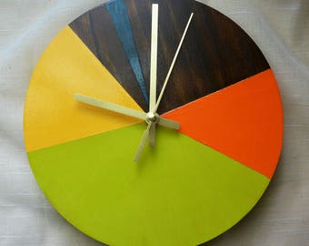 Abstract Geometric Clock // Colorful Home Decor