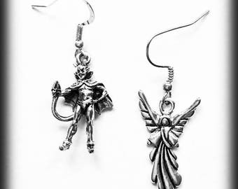 Devil and Angel Earrings, Conscience Earrings, Mismatched Earrings, Pewter and Antique Silver, Gothic Gift, Alternative Jewelry