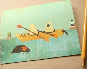 CARD: Kayaking Cats - Ourdoors, Nature, Blank, Any Occasion