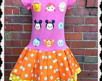 Tsum Tsum dress girls 4/5 6/6X 7/8 10/12 14/16 ready to ship