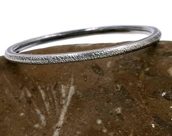 Oxidized Silver Ring, textured skinny band, simple minimal jewelry, round minimalist sterling stacking ring, bohemian hand forged jewelry