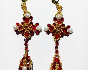 Baroque-styled beaded two-piece earrings in red and gold