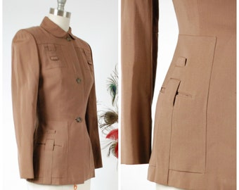 """Vintage 1940s Jacket - Dashing Cocoa Brown Gabardine 40s Suit Jacket with """"Locking"""" Self-Fabric Details"""