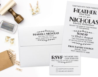 Wedding Invitation Stamp Suite. DIY Wedding Stamp, RSVP Stamp, Return Address Stamp, Custom Rubber Stamp Set.