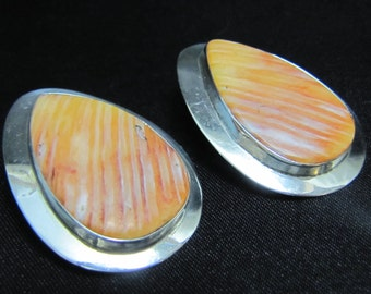 Vintage Leonard Nez Navajo Oyster Shell and Sterling Earrings