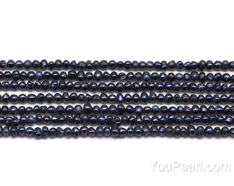 2.5-3mm black seed pearls, potato fresh water seed bead strand, genuine natural small tiny pearl bead supplies, full strand FS380-BS