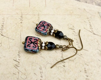 Black Earrings, Pink Earrings, Black Dangle Earrings, Antique Gold Earrings, Czech Glass Beads, Victorian Earrings, Unique Earrings, Gifts