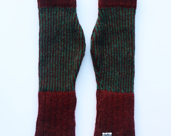 Maroon and Forest Green Lambswool Fingerless Gloves