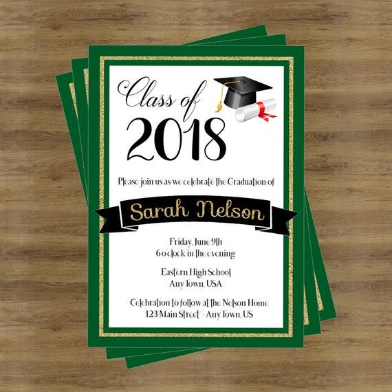 Grüne Graduierung Einladung Klasse 2018 High
