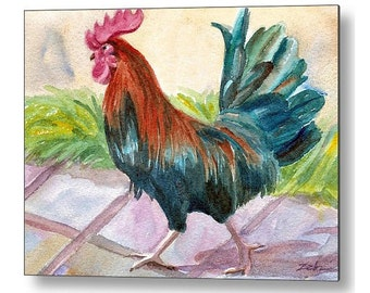 Rooster Art Chicken Print on Wood Farm Animal Printed Wall Art by Janet Zeh Zehland