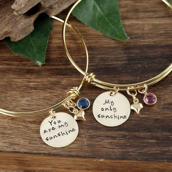 Personalized Hand Stamped Bangle Bracelet, You Are My Sunshine Bracelet, My Only Sunshine Bracelet, Mother Daughter Bracelets, Gift for Her