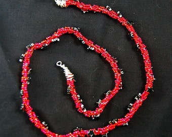 red hot twisted cord necklace
