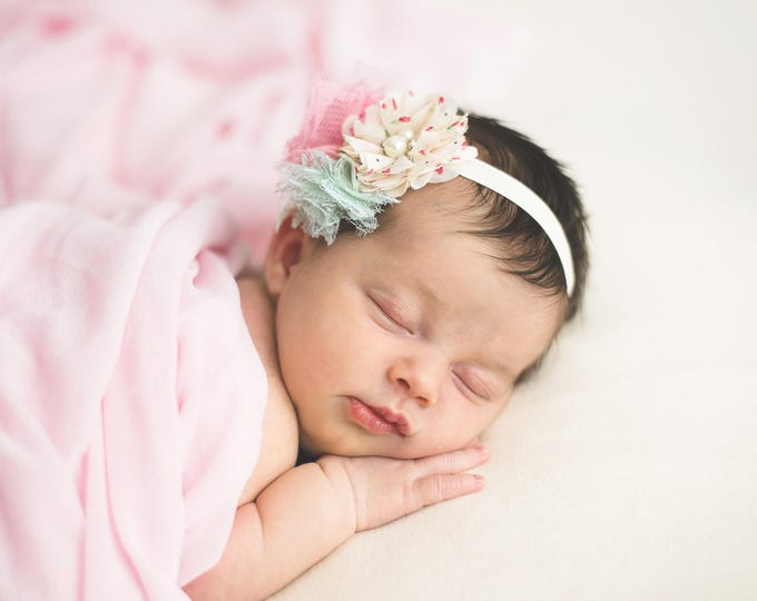 Mint & Pink Lace Puff Cluster Headband with a pretty floral flower -  for newborns, perfect for photoshoots, mint lace, Lil Miss Sweet Pea