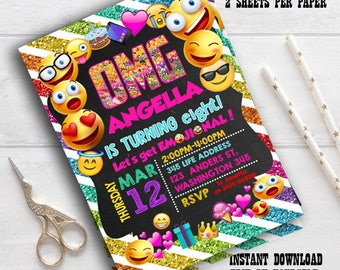 Instant Download- Emoji Invitation, Emoji Party, Emoji Birthday Invitation, Girl Emoji Invitation, editable pdf invite, Smile Invitation OMG